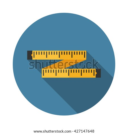 Colorful tape measure flat square icon with long shadows.