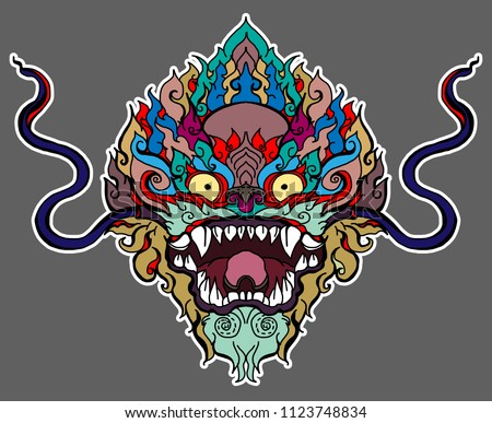 d31107aa2a887 colorful tattoo and sticker for printing.Thai Demon mask and Line Thai  style.Hand