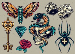 Colorful tattoos composition with medieval golden key butterfly dice cross spider diamond rose snake entwined with skull in vintage style isolated vector illustration