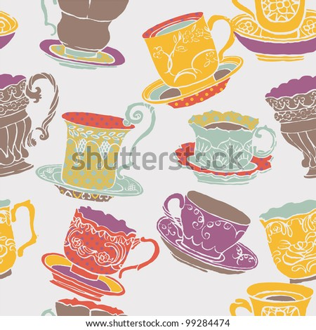 colorful teacups - stock vector