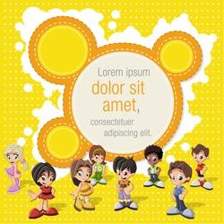 Colorful template for advertising brochure with a group of cute happy cartoon kids