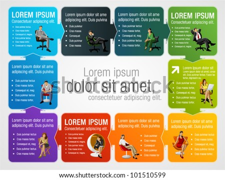 Colorful template for advertising brochure with business people on chair