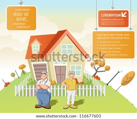 Colorful template for advertising brochure with cartoon old people in front of a house in green park.