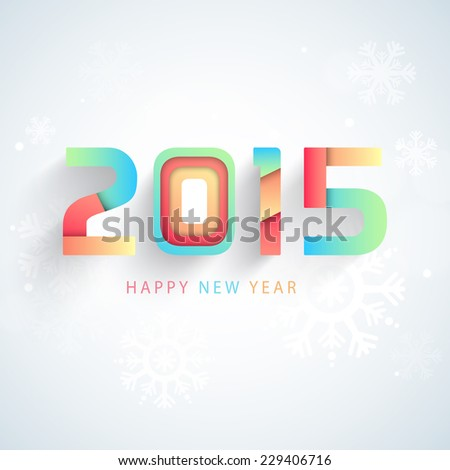Colorful text 2015 on snowflakes decorated grey background for Happy New Year celebrations, can be use as poster, banner or flyer design.