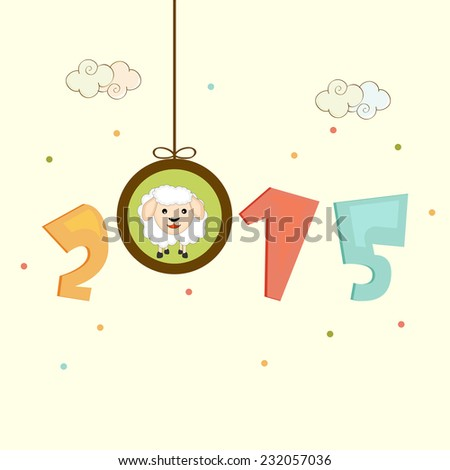 Colorful text 2015 with Chinese New Year symbol, sheep in hanging frame on stylish background #232057036
