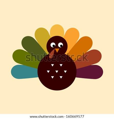 Colorful Thanksgiving Turkey. Vector cartoon Illustration