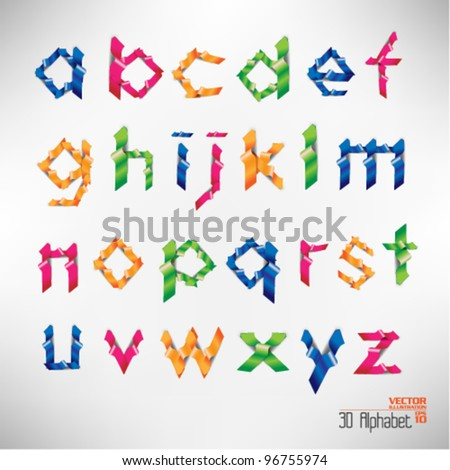 colorful three dimension alphabet set