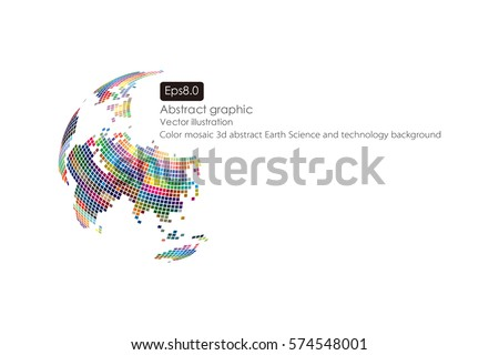 Colorful three-dimensional spherical map of the world, abstract vector background