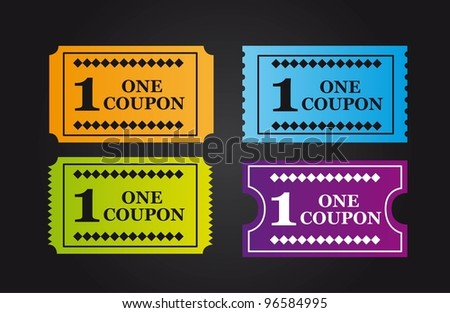 colorful tickets over black background. vector illustration