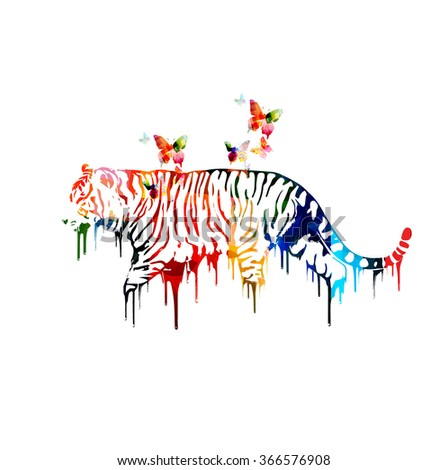 colorful tiger design with