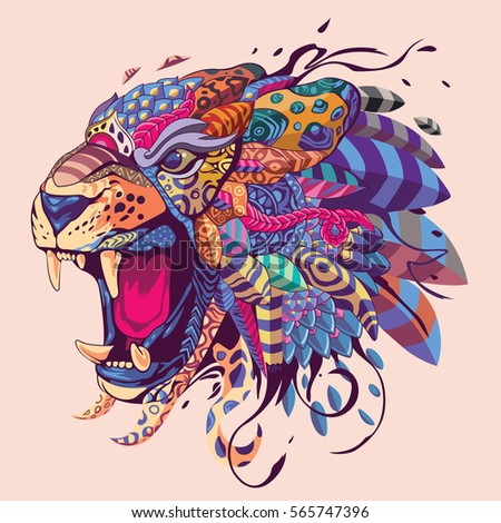 colorful tiger head illustration