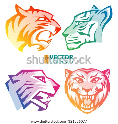 colorful tiger head logos with