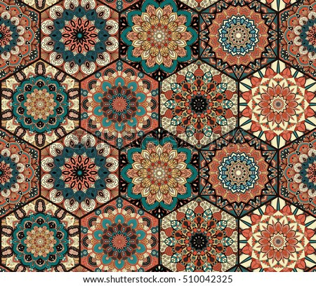 Colorful tiles pattern. Seamless pattern. Boho hexagon mandala background. Abstract flower ornament. Floral wallpaper, furniture, textile print, fabric. Romantic decoration. Weave design elements.