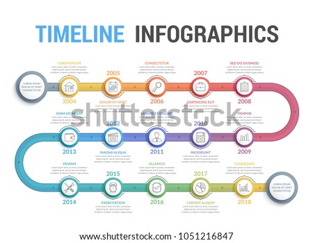 Colorful timeline infographics template with 15 steps, workflow, process, history diagram, vector eps10 illustration