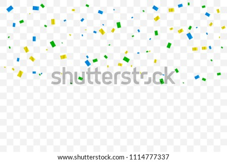 Colorful Tiny Confetti Falling On Transparent Background. Celebration Event & Birthday. Brazil Concept. Multicolored. Vector