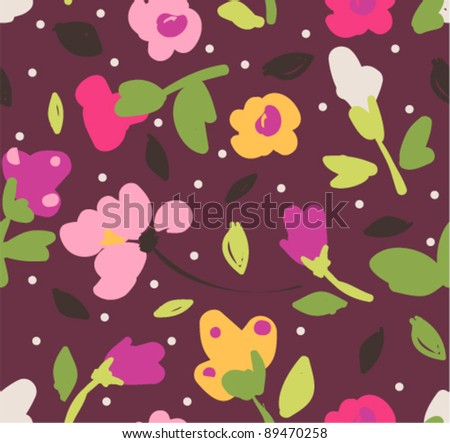 colorful tiny floral nature seamless pattern background - stock vector