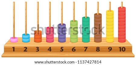 Colorful 1 to 10 abacus illustration