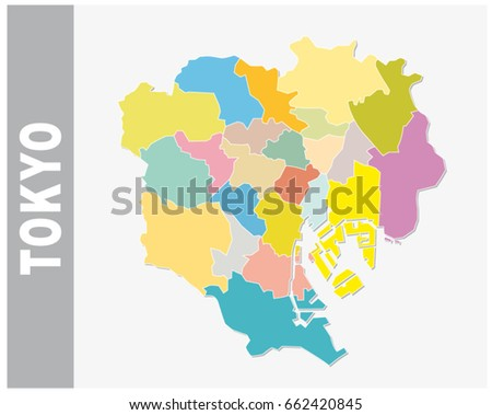 Colorful Tokyo administrative and political vector map