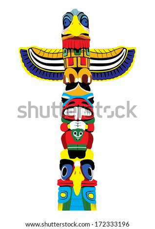 colorful totem pole isolated