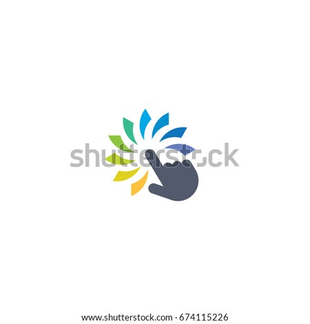 Colorful touch hand media click of creative icon logo vector