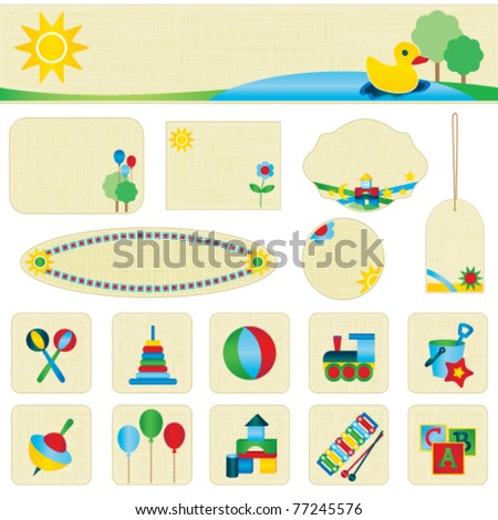 Colorful toy icons and banner set