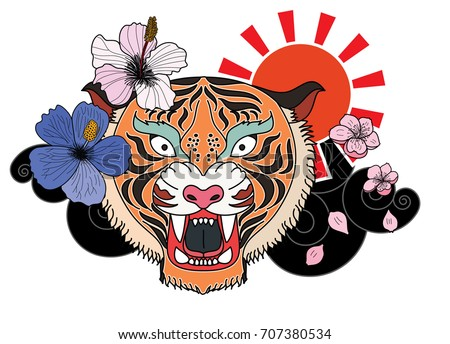 11e0e895e ... colorful traditional tattoo style Tiger face with cherry blossom and  hibiscus flower on could and red ...