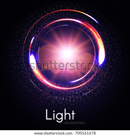 Colorful transparent circle light effect with flash light and energy motion. Vector illustration