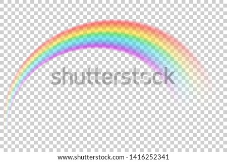 Colorful transparent rainbow vector illustration. Round arch of spectrum colors. Beautiful meteorological natural after rain phenomenon. Magic fantasy rainbow symbol of good luck.