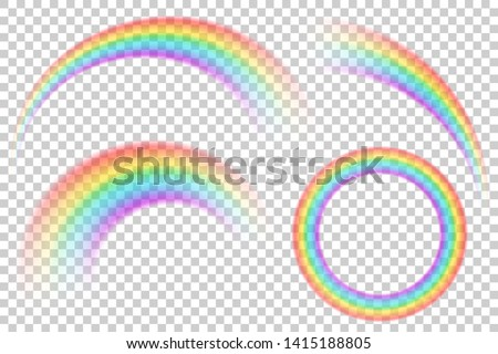 Colorful transparent rainbows vector set. Perspective diagonal view. Bright realistic arch rainbows and round halo rainbow. Fantasy symbol of good luck.