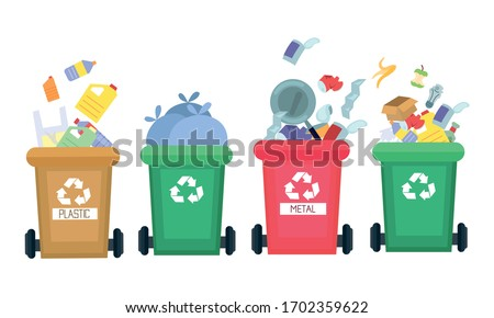 Colorful trash bins for separate garbage collection and recycling