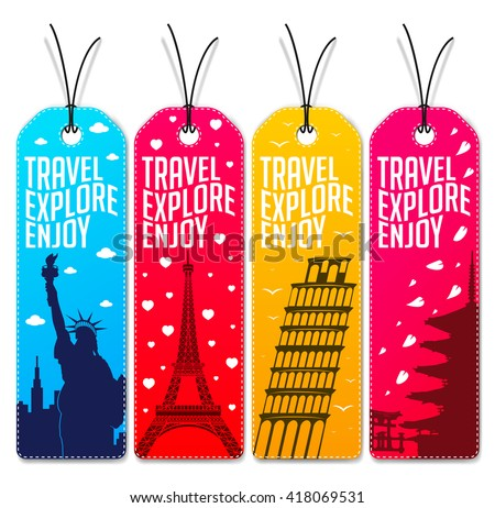 Colorful Travel Explore Enjoy Beautiful Tags or Bookmarks. Vector Illustration