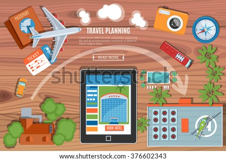 colorful travel planning vector