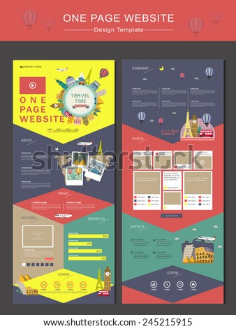 colorful travel time concept one page website design template in flat style