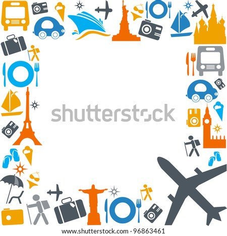 colorful traveling and transportation icons