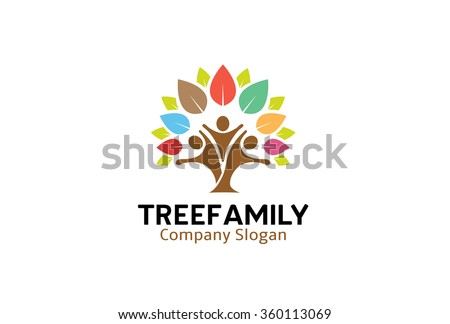 Colorful Tree Family Logo  Design Illustration