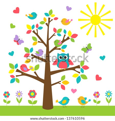 colorful tree with cute owl and