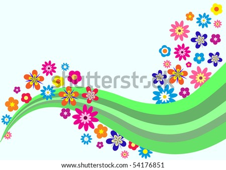 colorful trendy background with beautiful flowers, vector illustration