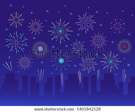 Colorful trendy fireworks in city. Celebration fire firework, christmas or mardi gras or brazil carbival pyrotechnics for party festival celebration or anniversary firecracker background vector