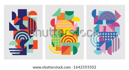Colorful trendy geometric shapes flat elements of a pattern. Pop art style texture. Modern abstract design for poster and cover template background. Vector illustration Zdjęcia stock ©