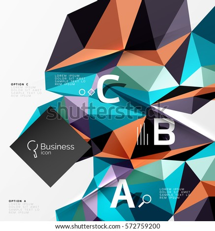 Colorful triangle mosaic 3d geometric object with infographics. Vector abstract background for workflow layout, diagram, number options or web design