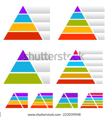 Colorful triangle, pyramid charts w/ banners