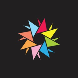 colorful triangles in circle. propeller symbol vector
