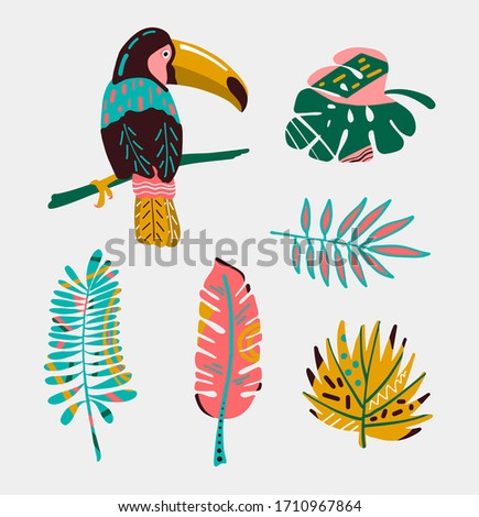 Colorful tropical bird with leaves. stock photo