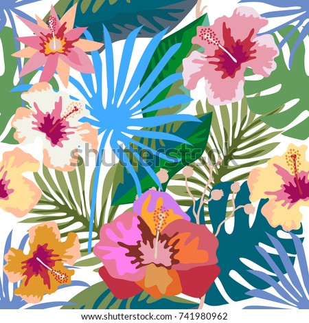 Colorful tropical paradise. Seamless vector pattern with palm leaves and exotic flowers. Flourish print with Hawaiian motifs. On white background. Retro textile collection.
