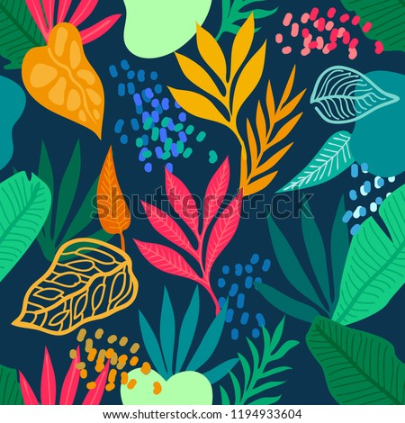 Colorful tropical rainforest. Seamless vector pattern with palm leaves and other plants. Aloha textile collection. On dark background.