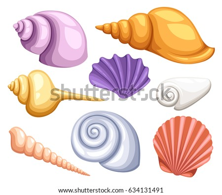 Colorful tropical shells underwater icon set frame of sea shells, vector illustration.Summer concept with shells and sea stars. Round composition, starfish, nature aquatic. Vector illustration.