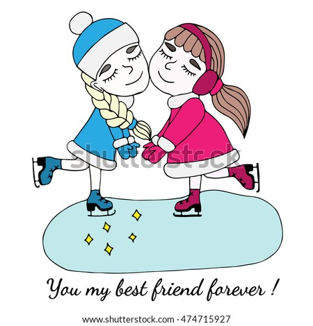 Stock Photo Colorful two girls of friend hold on to the hands on skates with text You my best friend forever.