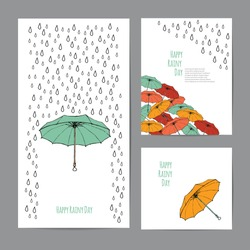 Colorful umbrellas and rain drops with text block. Templates for design of cards, banners and flyers. White background