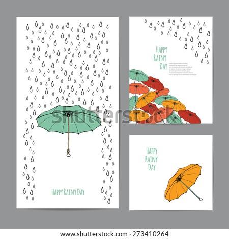colorful umbrellas and rain