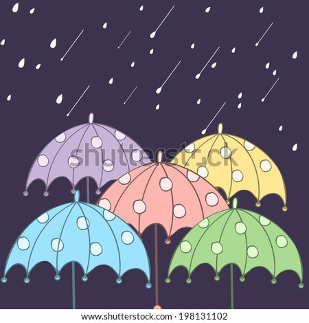 Colorful umbrellas in the rain night background, concept for Happy Monsoon Season.